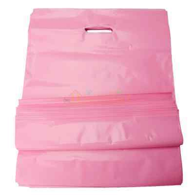 100 Plastic Retail Merchandise Shopping Bags Diecut Handle 15x18x4 Pink