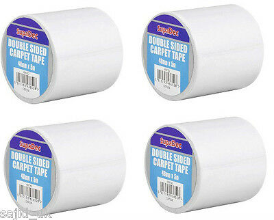 4x SupaDec Double Sided Heavy Duty Carpet Rug Tape Roll Adhesive - 48mm x 5m
