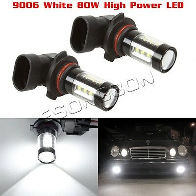 Two 9006 HB4 Fog Light Driving Lamp White 6000K Super Bright 80W LED Projector