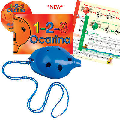 OCARINA SET of 4-hole plastic Ocarina with 1-2-3 Ocarina Book & CD, six colours