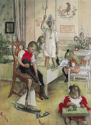 Girl by a Flowering Hawthorn Bush   by  Carl Larsson   Paper Print Repro