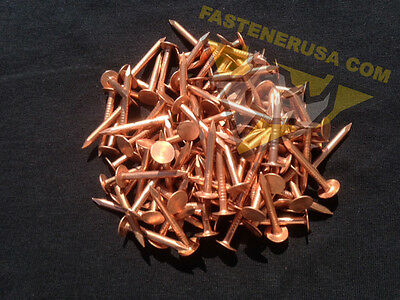"1 1//2/"" Smooth Plain Shank Copper Roofing Nails 10 gauge 3//4lb approx. 85 pcs"