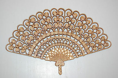 """21""""x13"""" Vintage Burwood Ornate Gold Syroco Fan 2424 Wall Decor/Accent Sculpture"""