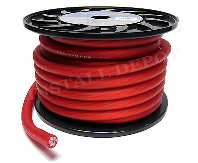 25 FEET - RED PREMIUM 1/0 GAUGE POWER WIRE GROUND CABLE CAR AMP INSTALL WIRING