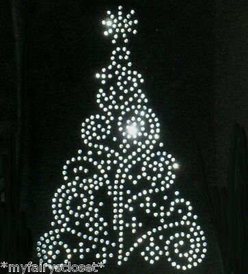 """8"""" clear, clear AB, gold, OR green Christmas tree iron on rhinestone transfer"""