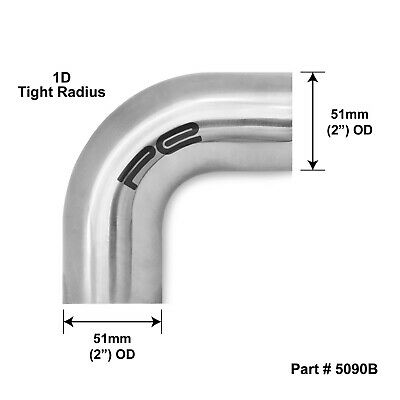 """90 degree 2"""" 50mm 51 Tight 1D Mandrel Exhaust Bend T304 Stainless Steel Polished"""