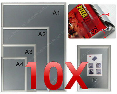 10 X A3 Premium Snap Poster Holders / Aluminium Wall Mounted Sign Picture Frames