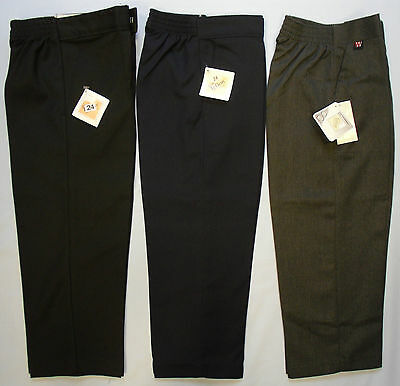 Boys School Uniform Trousers Bottoms Black Grey Navy Teflon Elasticated Zip Clip