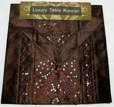 BROWN SEQUIN SATIN STYLE TABLE RUNNER LUXURY QUALITY CASABLANCA POLYESTER 13x72""