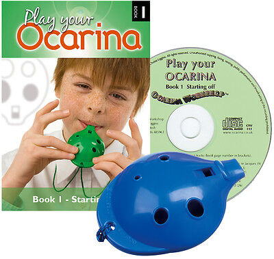 4-hole plastic OCARINA -6 colours- with 'Starting Off' Book 1 & play-along CD