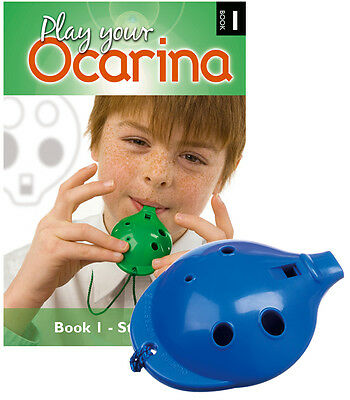 OCARINA SET of 4-hole Ocarina - six colours - with Play your Ocarina Book 1