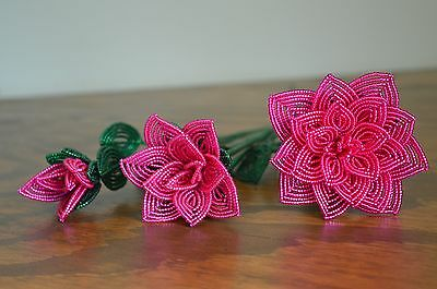 *NEW* lot of 3 handmade French beaded Flowers Fuschia rose roses