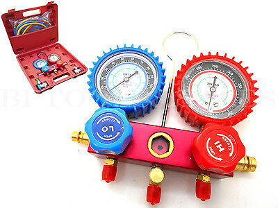 "A/C Manifold Gauge Set Red/Blue/Yellow 6"" Hose & Couplers Aluminum R134a/R12/R22"