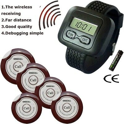 New Wireless Guest Calling for Restaurant Serving (Pager and Receiver) 5 Bells