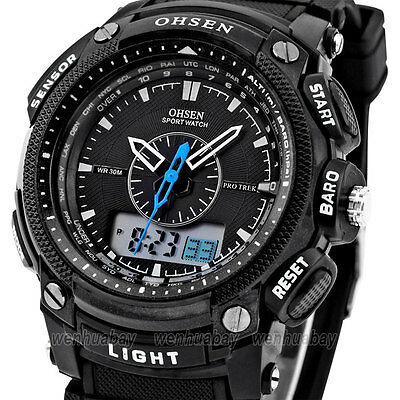 OHSEN Gomma impermeabile LED Digital Sport polso al Quarzo Orologio Watch Uomo