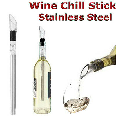 Stainless Steel Chill Stick with Pour Spout, Wine Cooler, In-bottle Chiller -New