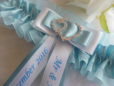 Personalised Wedding Garter/hen Garter Diamante Double Hearts Choice Of Colours
