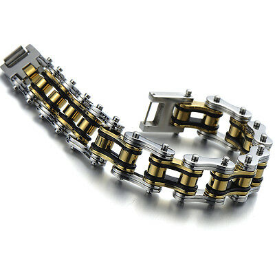 Heavy and Study Mens Fancy Bike Chain Bracelet Stainless Steel Silver Gold Black