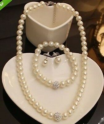 Faux Pearl & Diamante Rhinestone Crystal ball  Necklace,Earring & Bracelet Set