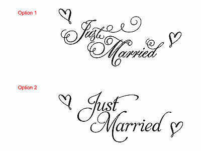 Just Married Wedding Car Decal Sticker Window Banner Decoration Removable Vinyl