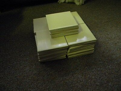"""46 Pieces Vintage 1950's 4 1/4"""" Square Yellow Ceramic Tile New Old Stock!"""