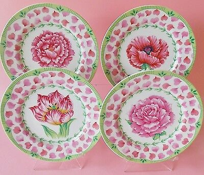 """ANDREA BY SADEK SET OF FOUR PINK AND WHITE IN FULL BLOOM PORCELAIN 8 1.4"""" PLATES"""