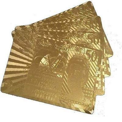 £50 Edition 24K Gold Plated Playing Cards Poker Deck 99.9%Pure Plastic Card Plai