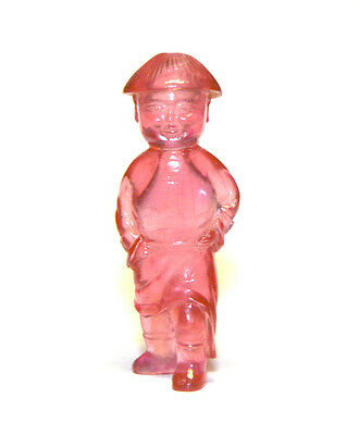 Superb Rare Antique Chinese Qing Pink Peking Glass Figure Shape Snuff Bottle