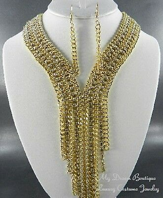 Evening Party Special Occasion Bold Gold Clear Crystal Lariat Luxury Necklace Se
