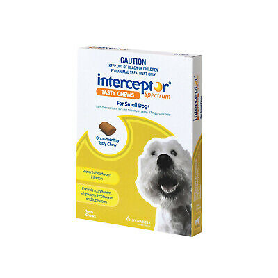 Interceptor Wormer Chew for Small Dogs 4-11kg - 3 & 6 Pack Available