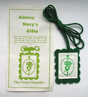 Green Scapular  & Leaflet Among Mary's Gifts Religious Gift