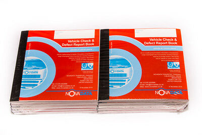 20 x Novadata Vehicle Check & Daily Defect Report Book Pad 50 duplicate pages