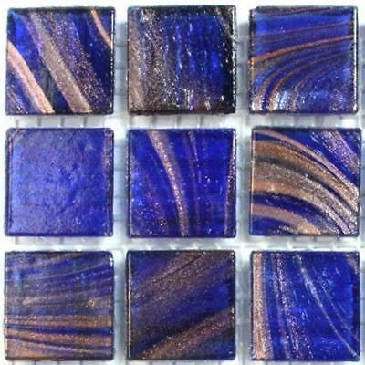 75 Gold Blue Vitreous Glass Mosaic 20mm Tiles G19