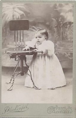 Cabinet Card Portrait Of Young Baby In White Dress W/ Posing Stool-Cleveland, Oh