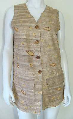 THE LIMITED COLLECTION Beige Sleeveless Vest Embroidery Beads 100% Silk Size S