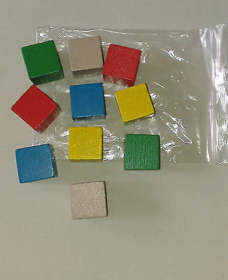 Wooden counting cubes - New pack of 10 cubes (22mm) 2 x 5 different colours