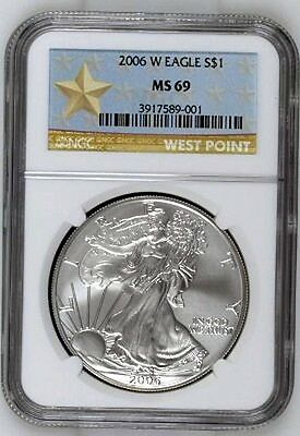 2006-W  burnished  SILVER EAGLE - NGC MS69 - buy it now - WEST POINT LABEL