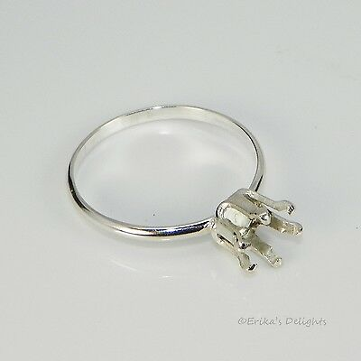 6mm Round Solitaire Sterling Silver Snap In RING Setting (6 Prong)