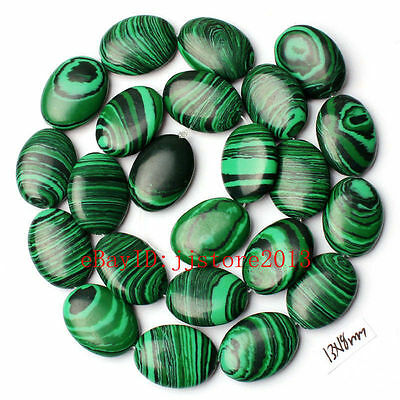 13x18mm Imitation Green Malachite Oval Shape Gemstone Loose Beads Strand 15""