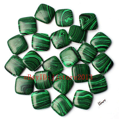 15mm Imitation Green Malachite Rhombic Shape Gemstone Loose Beads Strand 15""