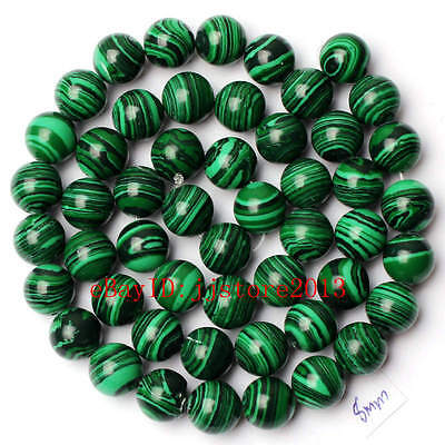 8mm Pretty Imitation Green Malachite Round Shape Gemstone Loose Beads Strand 15""