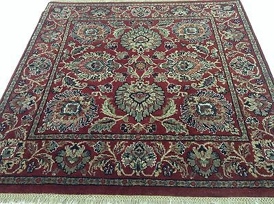 4 x 4 Red Small Square Agra Persian Oriental Area Rug Hand Knotted Wool