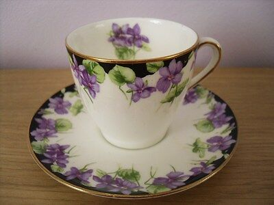 1930's Royal Doulton Porcelain Coffee Cup Can Saucer Violets Pattern H3747 Deco