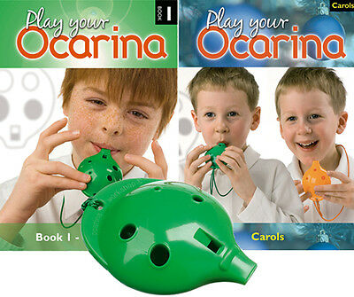 OCARINA, Green 4-hole, Play Your Ocarina BOOKs 1 and CAROLS, with FREE DELIVERY