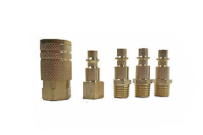 "New 5 Pc 1/4"" NPT Brass Air Tool Couplers With Adapter Quick Release Fittings"