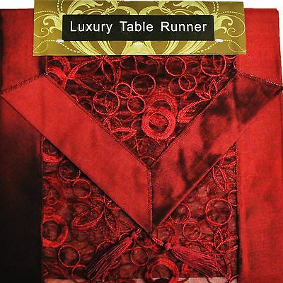 """RED EMBROIDERED TABLE RUNNER LUXURY ORGANZA SATIN SILK POLYESTER 13x72"""""""