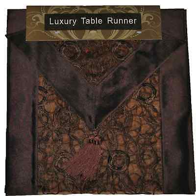 """BROWN EMBROIDERED TABLE RUNNER LUXURY ORGANZA SATIN SILK POLYESTER 13x72"""""""