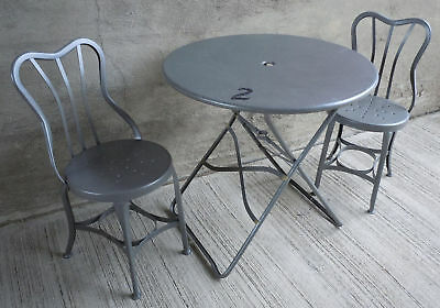 Vtg. Industrial Metal Bistro Patio Table & Two UHL Toledo, Ice Cream Chairs (#2)