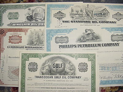 5 Different Oil Company Stock Certificates Standard Sinclair Transocean Gulf Lot