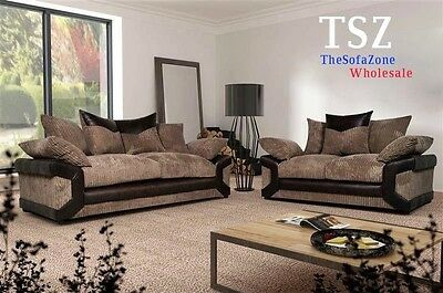 New Dino 3 Seater And 2 Seater Fabric Sofa Suite In Black Grey Or Brown Beige